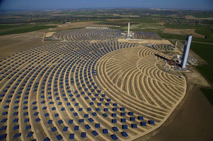 Solar thermal power plant in Sanlucar la Mayor. Andalucia, Spain