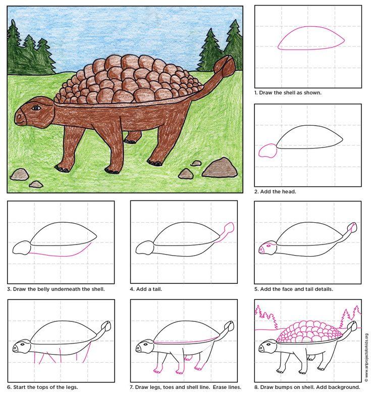 draw an ankylosaurus dinosaur craftsdinosaur artdrawing for kidsdrawing