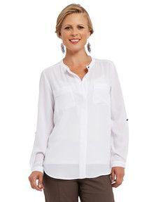 Ella J Classic Woven Collarless Shirt, White product photo
