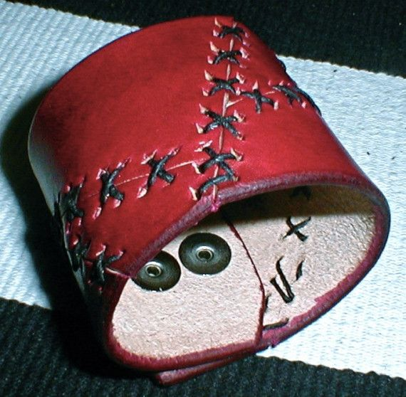 red stitched leather cuff