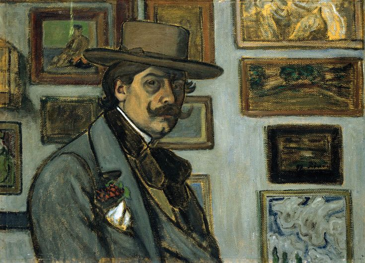 József Rippl-Rónai (1861–1927), Self-Portrait in a brown hat, 1897, Oil/Canvas, 64 x 88 cm | Hungarian National Gallery