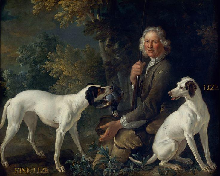 Portrait du garde-chasse La Forêt et de Fine-Lise et Lise, deux chiennes de la meute royale