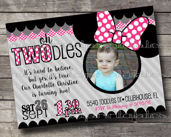 Oh Twodles Toodles Minnie Mouse  birthday party invitations pink with picture printable by SmallWorldPrintables