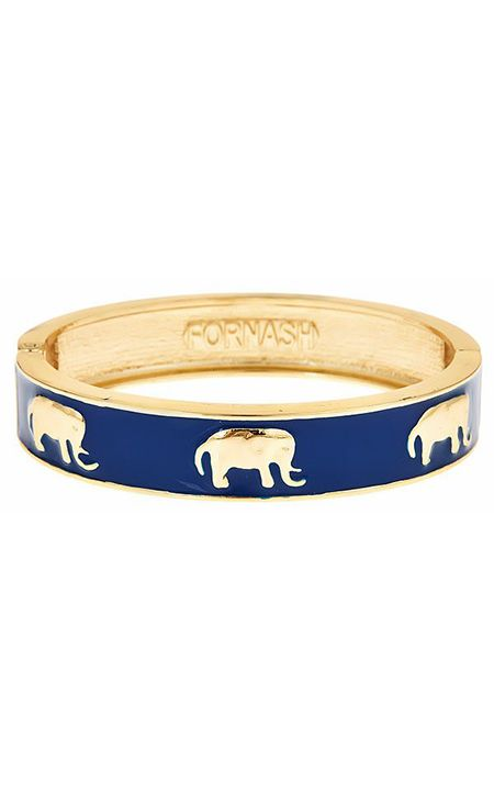 Navy Enamel Elephant Bangle by Fornash at The Pink Palm