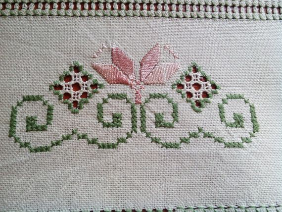 Traditional Transylvanian linen hand embroidery beige green