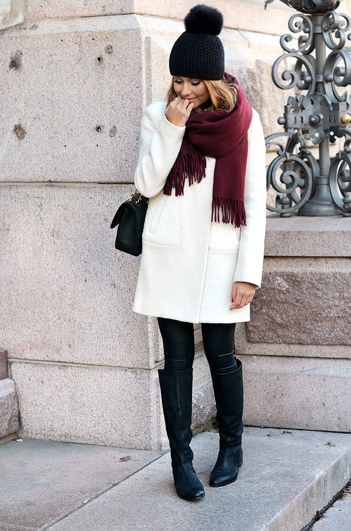ivory coat + boots + contrasting scarf