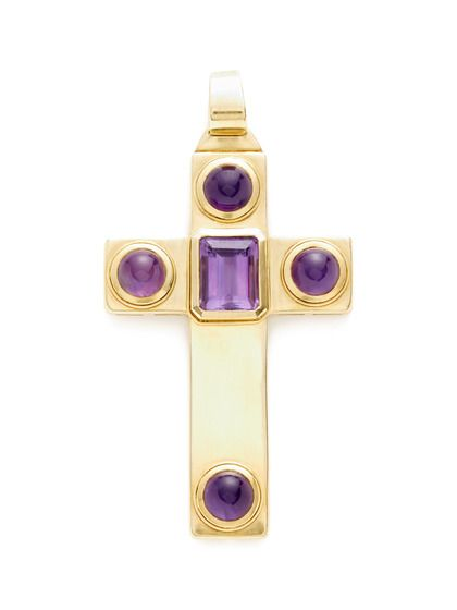 Ca. 1970's Amethyst & Gold Oversized Cross Pendant $5,300