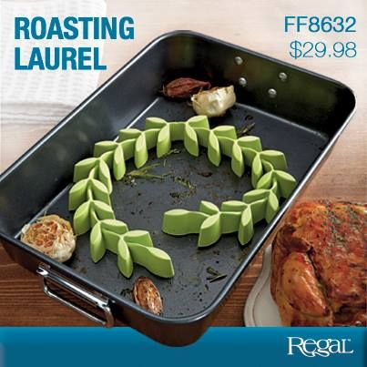 """ROASTING LAUREL  Raises meats for faster & healthier cooking! Flexible silicone laurel fits practically any size baking dish or pan while lifting ham, poultry or beef up and out of the grease, promoting better heat circulation for quick cooking and all-over browning. Heat resistant to 482F. Dishwasher safe and BPA-free. 1-3/4""""W x 1""""H x 24""""L"""