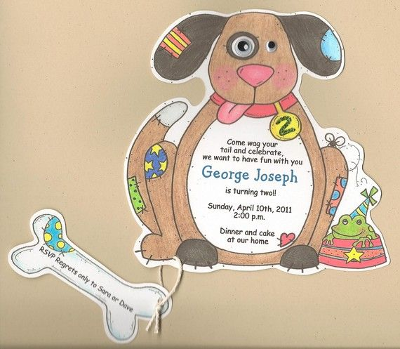 10 Boy Birthday  Dog Themed Party Invitations  by sarajanestudio, $15.00
