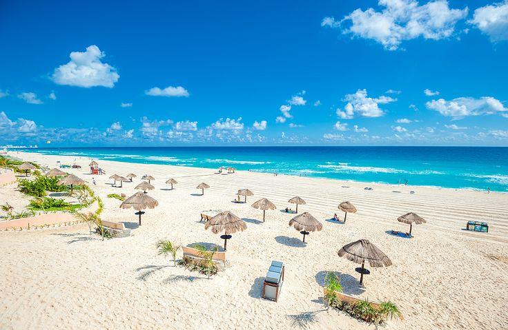 Cancun beach panorama in Mexico.