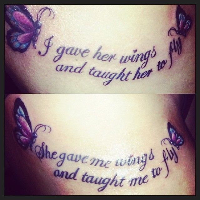 Mother daughter tatoos with butterfly