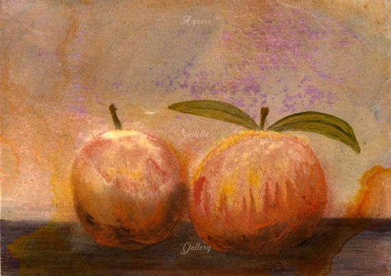 Still life painting peaches, peaches painting, couple of paintings, peach painting, Italian art, still life peach, fruit painting, fruits