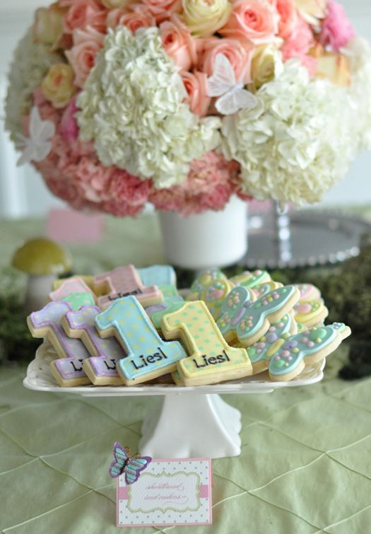Loved these cookies - got them for my 1-year-old's birthday from Lorisplace on Etsy.  Also love this events & design page for ---- butterfly party