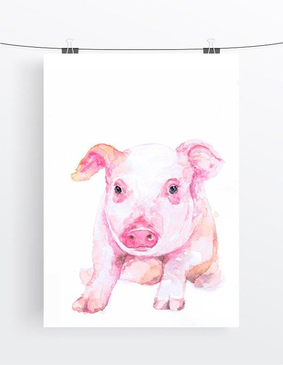 Pig Wall Art Watercolor Painting Farmhouse Decor Farm Animals