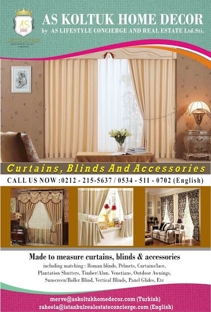 AS Lifestyle Concierge and Real Estate Services Ltd. Sti.: Looking for curtains, blinds, and accessories in T...