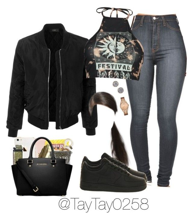 """""""Lil Durk-Set It Off"""" by taytay0258 ❤ liked on Polyvore featuring LE3NO, NIKE, Boohoo, Nadri and GUESS"""