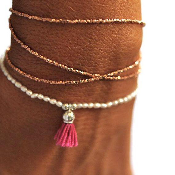 Rose Gold Triple wrap beaded bracelet di VivienFrankDesigns, $190.00