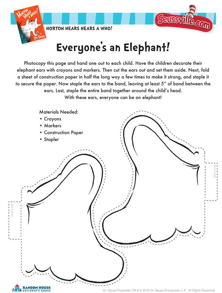 Horton Hears a Who - elephant ears | Seussville.com The Tiny Tots loved it!! #winning