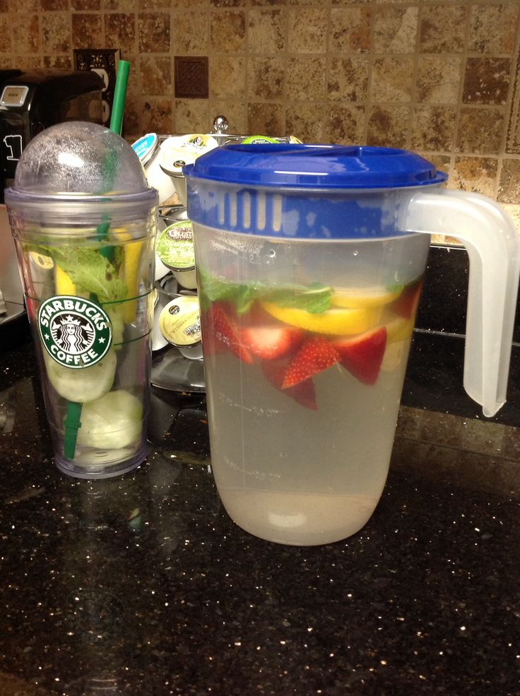 My two favorite detox fruit waters!!! 1 Cucumber, 1 lemon and 10 mint leaves or 1 Lemon, 10 strawberries (cut in halves), 10 mint leaves in a 2 quart pitcher! Let infuse over night for maximum taste and drink throughout the day. After 2 weeks I started feeling a difference along with exercise  cutting out carbs  fast food!