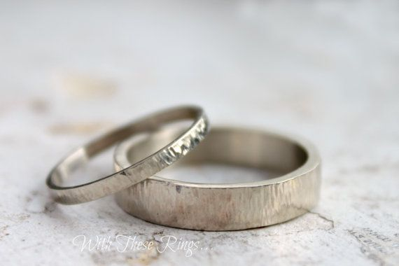 14k White Gold Wedding Ring Set  His and Hers  White by moiraklime, $865.00