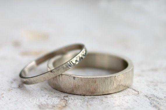 Silver Wedding Band Set Silver Wedding Ring His von moiraklime