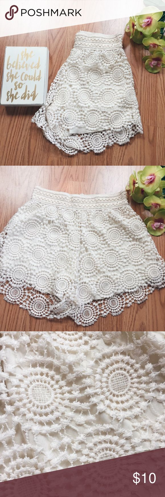 🔳 Cream Lace Shorts 🔳 🔳Product Description🔳 ▫️Comfy and sweet polyester lined lace shorts  ▫️Lace pinwheel pattern is in perfect condition with no rips  ▫️Elastic waist that fits high waisted  ▫️Lace is longer than the lining ▫️Purchased from T.J. Maxx  Measurements:  ▫️Waist- 24 inches  ▫️Length (lace, lining)- 14 inches, 12 inches   ⭐️See Buyer Guarantee ⭐️  ⚡️Follow my insta for the non-Poshmark side of my life⚡️----> @hayleysforsblom Shorts