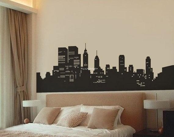 medium size new york city skyline wall decal sticker black