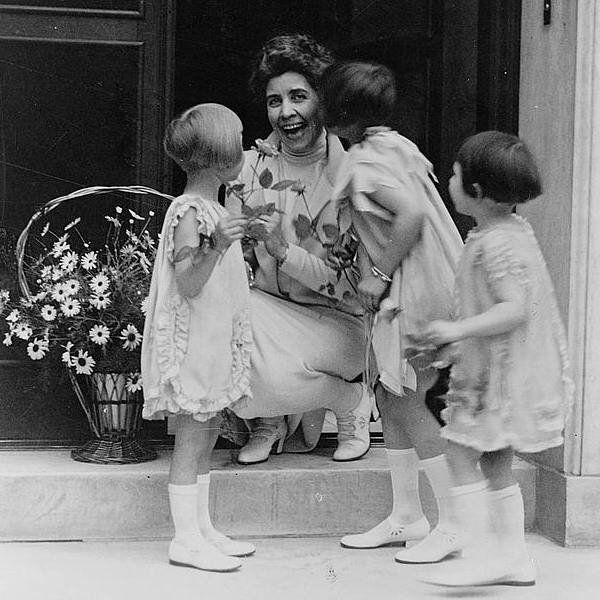 First Lady Grace Coolidge receives a May-basket from young children in 1927. A Forgotten Tradition: May-Basket Day