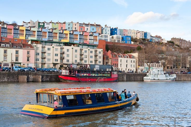 Bristol harbourside with ferry boats