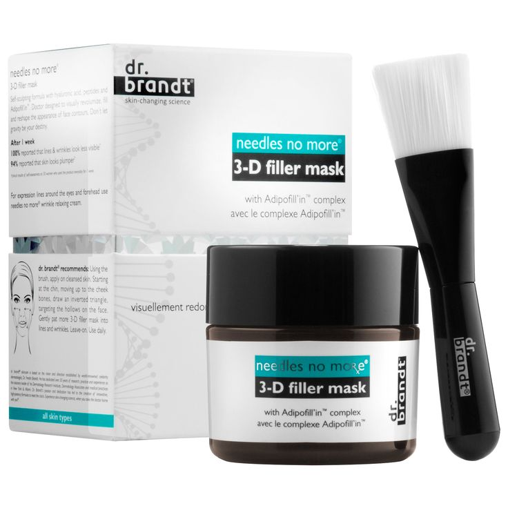Needles No More® 3-D Filler Mask by Dr. Brandt Skincare. This visible skin-plumping mask restores volume and youthful-looking contours—filling in the look of wrinkles and folds for an instantly smoother look.