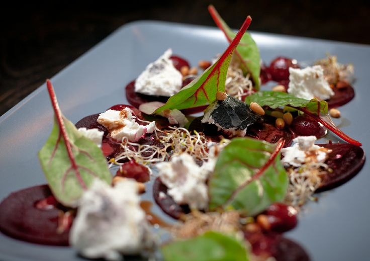 • beetroot carpaccio with goat cheese
