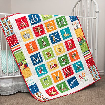 Handmade Dr. Seuss ABC Alphabet Baby Crib or Toddler Quilt