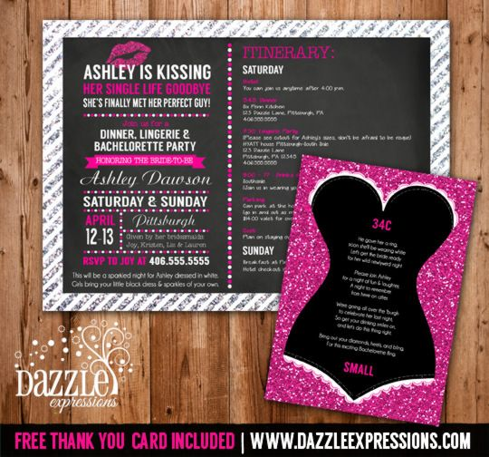 Printable Glitter Lingerie Bachelorette Party Invitation with Itinerary | Glitter Lingerie Sizes Insert Card | Black and Pink Sparkles | Lips | Chalkboard | Bachelorette Party Idea | Kissed Single Life Goodbye | www.dazzleexpressions.com