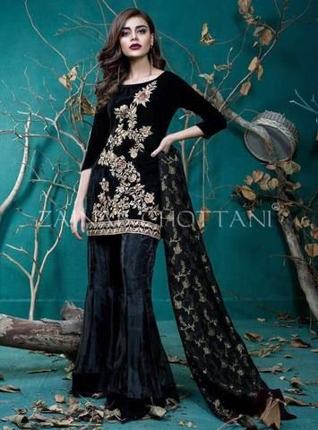Zainab Chottani Velvet Suit Ladies Replica Shop Embroidered Dress