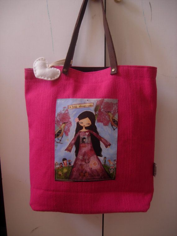 A hug Always Open  art bag in dark pink/fuchsia and a by eltsamp, $58.00