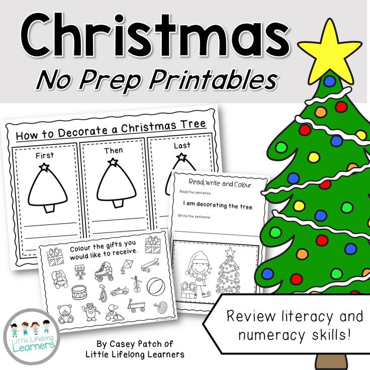 Christmas no prep printables | end of the year | black line masters | Kindergarten and Prep students | Review numeracy skills such as number patterns, patterning, numeral recognition, addition and subtraction | Review literacy skills such as procedural writing, sight words, sentence structure, descriptive writing and letter writing |