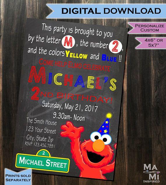 Elmo Birthday Invitation - Elmo Invite - Sesame Street Party Invitation - Birthday Invitation - Elmo Party - Printable - Custom - Chalkboard