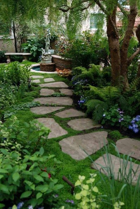 Just a picture BUT Beautiful garden with walkway. I love the moss between the stones