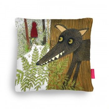 The Wolf Spies Red Cushion