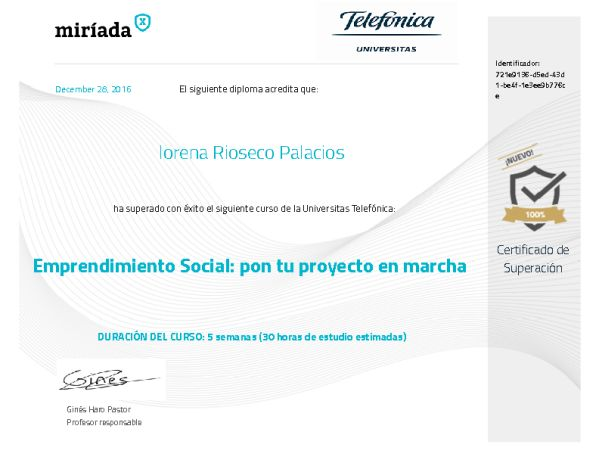 Diploma de superación Emprendimiento social