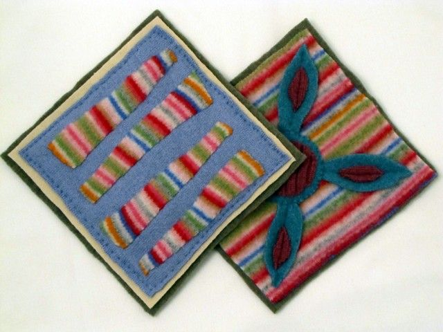 http://kleas.typepad.com/.a/6a00d8341c7afd53ef0148c7430295970c-pi  These are pot holders made by cutting out pieces of woollen fabric (socks?) and layering and stitching them together.