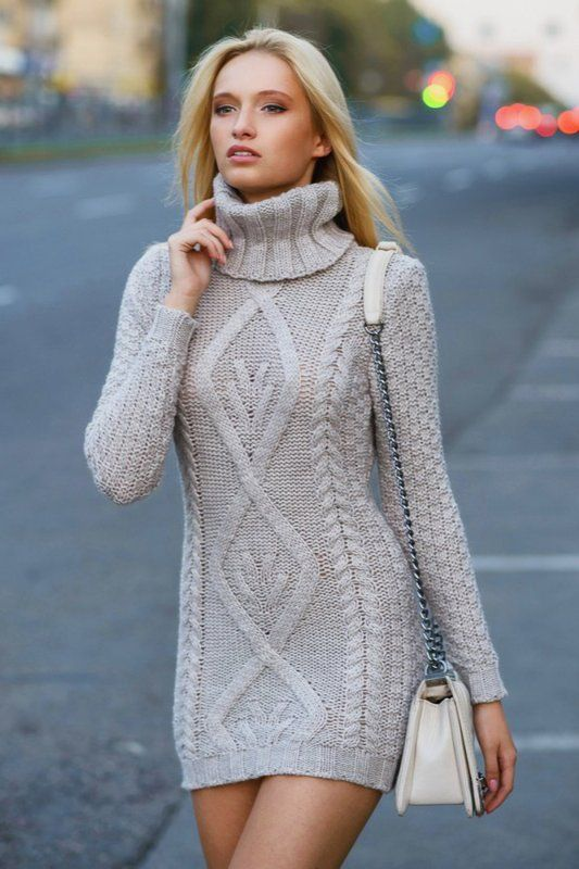 Cable Knitted Sweater Dress