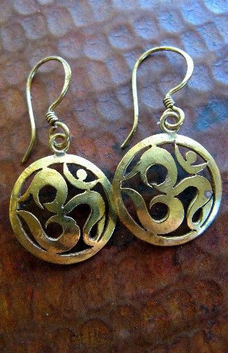 Etched Om Circular Brass Earring