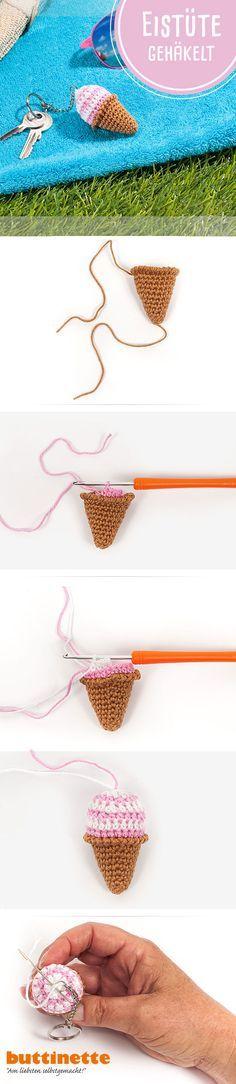 Wir haben heute im Blog eine süße Häkelanleitung für Euch - eine Eistüte, die sich als Schlüsselanhänger oder Häkelmini gleich noch mehr Sommerstimmung zaubert. Und: Als kleines Projekt ist die Eistüte doch super geeignet für Anfänger oder als Kleinigkeit am Strand, See oder Urlaub: http://blog.buttinette.com/basteln/haekelanleitung-suesse-eistuete-als-schluesselanhaenger #häkeln #amigurumi #Häkelmini #kostenloseHäkelanleitung #Tutorial #kostenloseAnleitung #Häkeleis #Eis #Eistüte