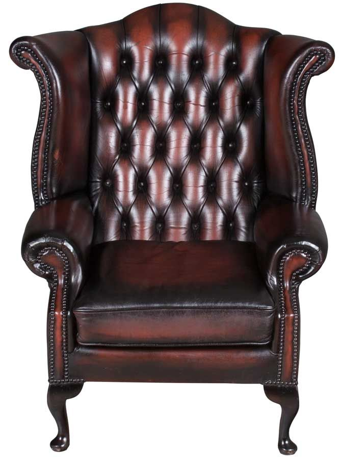 Vintage Red Leather Wing Back Arm Chair From England With