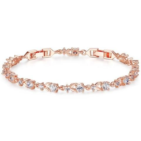 Fine Rose Gold Crystal Wedding Bracelet, Antoinette