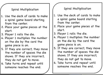 Next to my bump games, the favorite game of my students last year was Spiral Multiplication.     I first found it through Pinterest, and I ...
