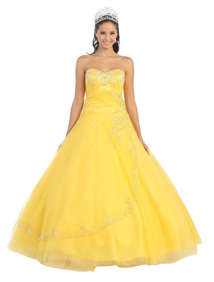 Quinceanera Strapless Tulle Prom Long Ball Gown Dress - The Dress Outlet - 12