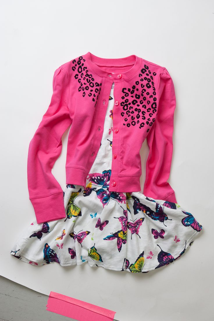 White and blue butterfly dress, $16.95 with pink cheetah print cardigan, $24.95 at The Children's Place.  I love the dress; it's so cheerful and whimsical <3