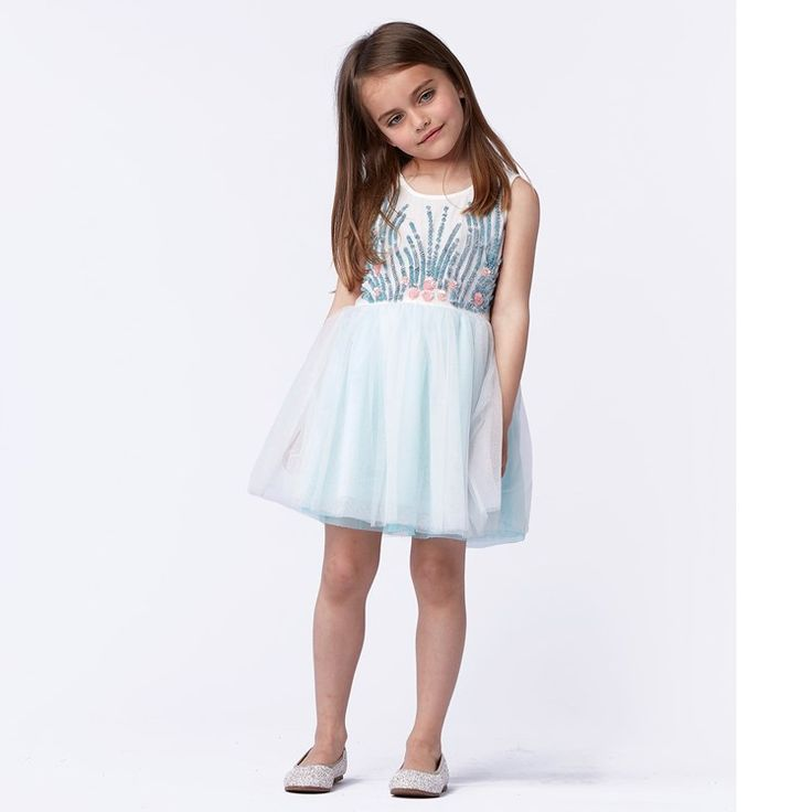 Mint Tulle Sequin and Embellished Dress
